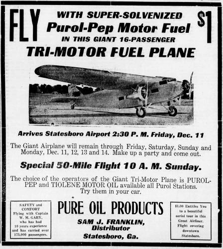 Statesboro Airport Tri-Motor AD - Courtesy of Bulloch Times