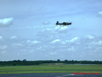 Experimental with smoke doing a low pass at KTBR